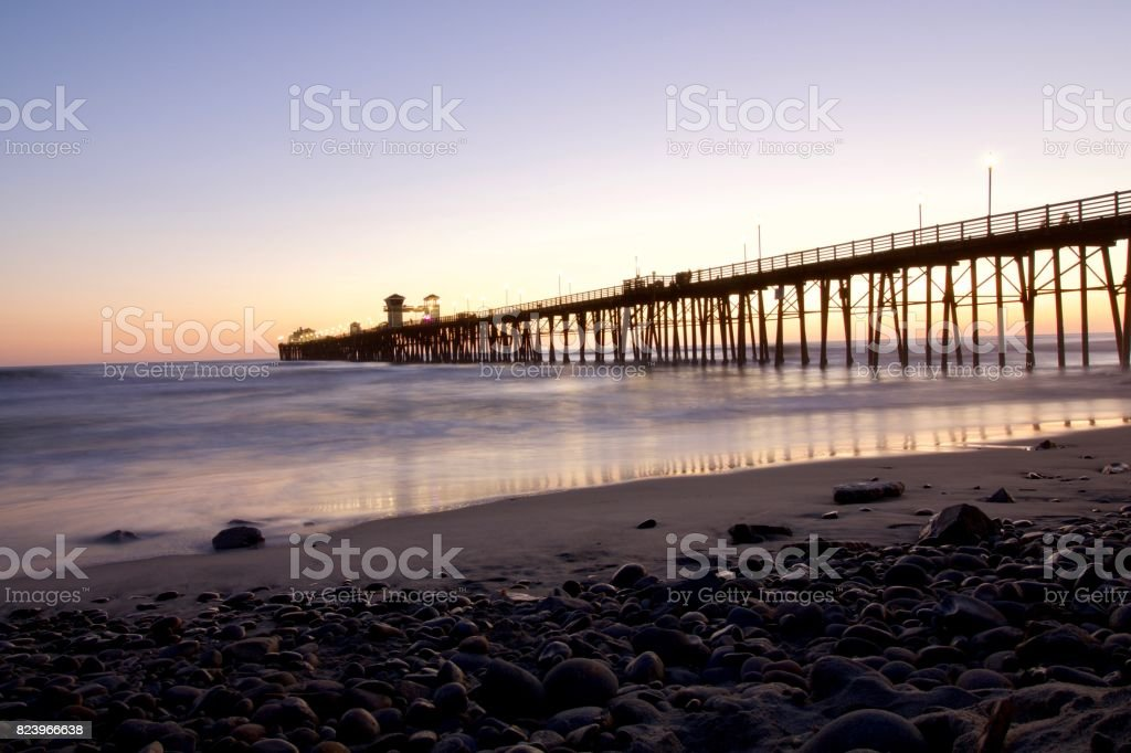Oceanside Pier at Sunset stock photo
