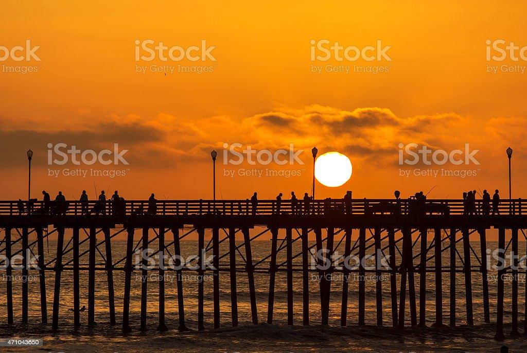 Oceanside Pier, CA Sunset Silhouette stock photo