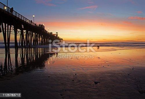 sunset at Oceanside, CA pier
