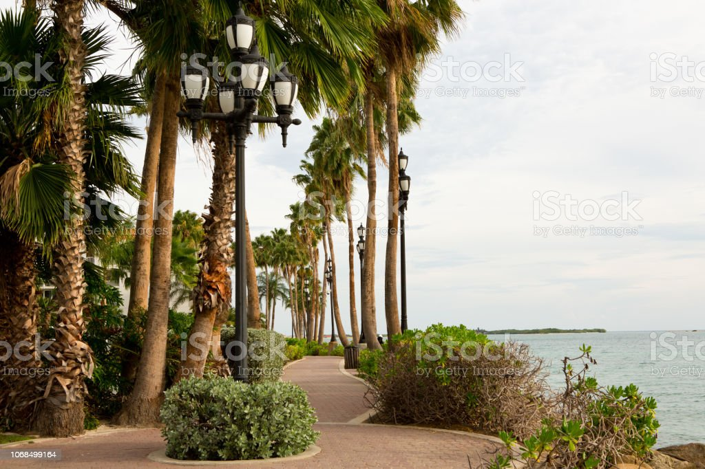 Oceanside promenade in Oranjestad Aruba stock photo