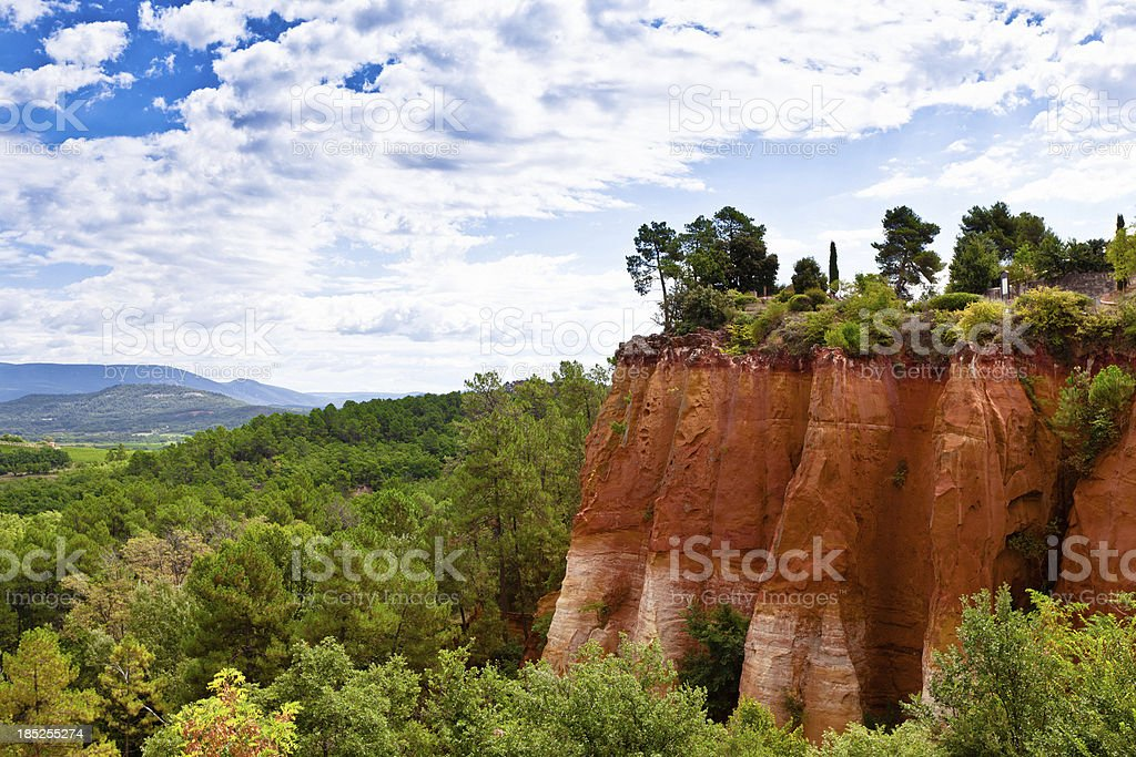Ochre hill in Roussillon, France stock photo