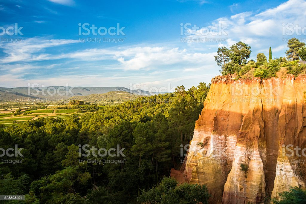 Ochre hills of South France stock photo