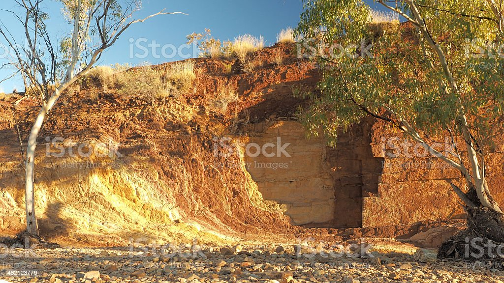 Ochre lines in the banks of a creek at sunset stock photo