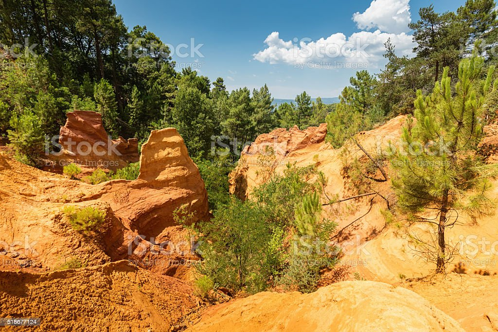 Ochre Mountains Roussillon Vaucluse France Provence stock photo