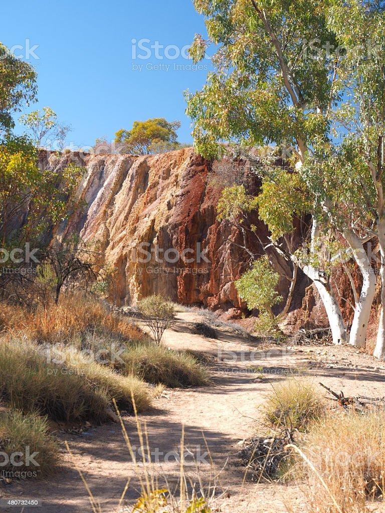 Ochre Pits along a creek stock photo