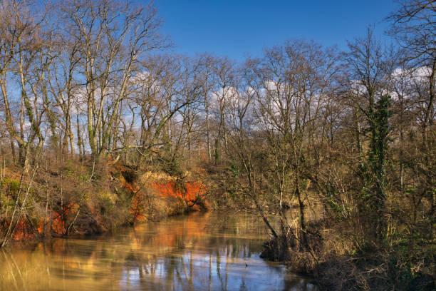 Ochre river bank stock photo