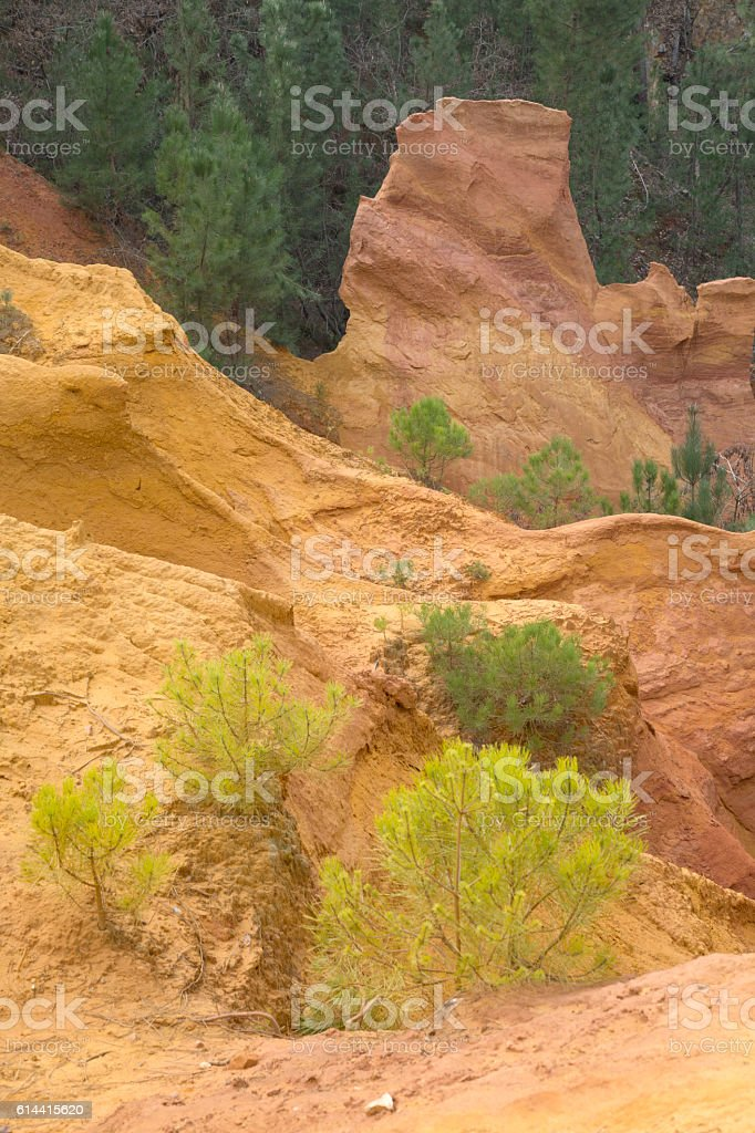 Ochres Deposits in Roussillon Village, France stock photo