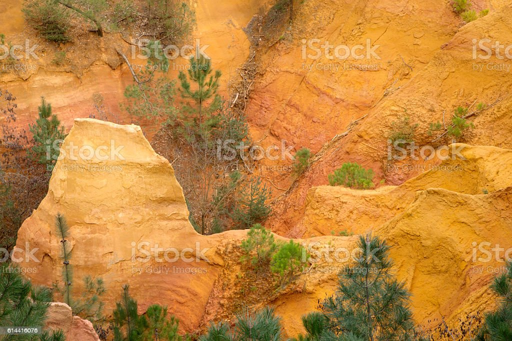 Ochres Deposits in Roussillon Village, Luberon stock photo