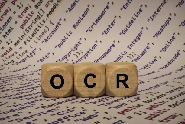 ocr - cube with letters and words from the computer, software, internet categories, wooden cubes stock photo