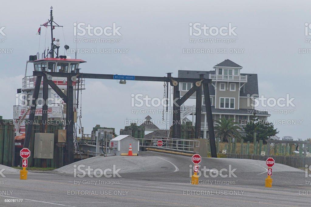 Ocracoke Ferry Dock Landing stock photo