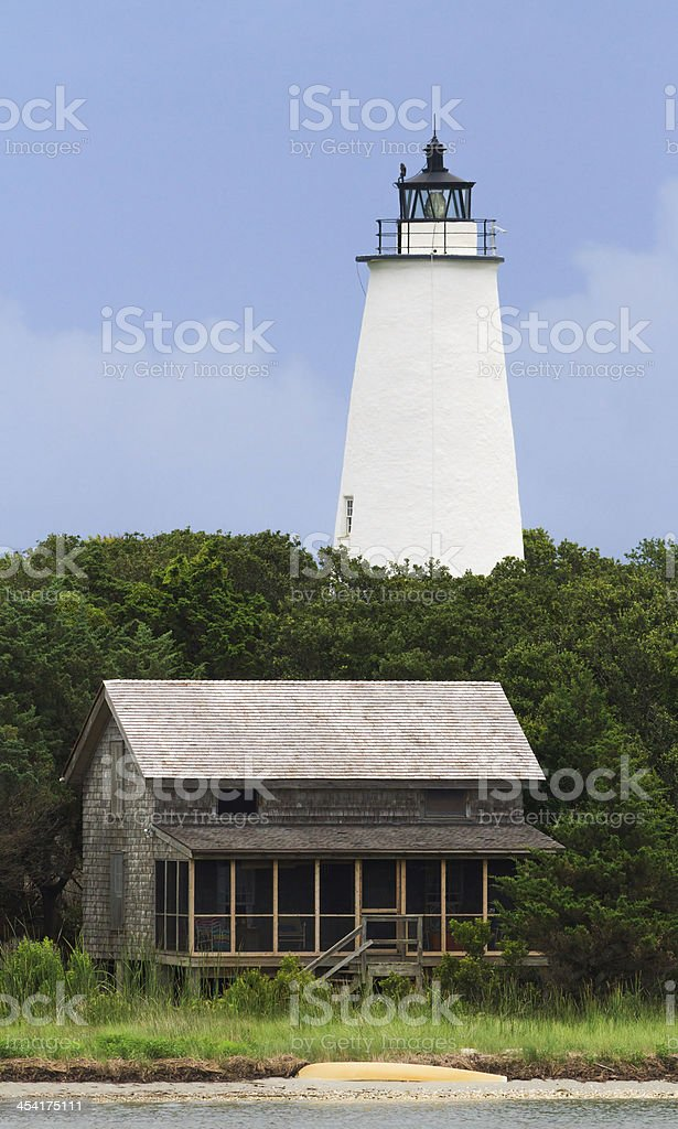Ocracoke LIght and Beach House royalty-free stock photo