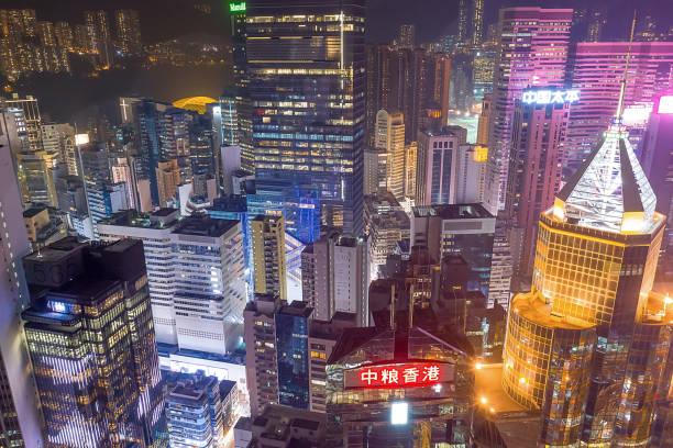 2019年10月18日從銅鑼灣看一座繁忙城市的摩天大樓圖像檔