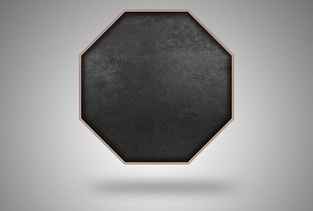 Octagon Shape with Blackboard Pattern and soft Wooden Frame stock photo