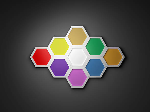 3D octagon template layout for business stock photo
