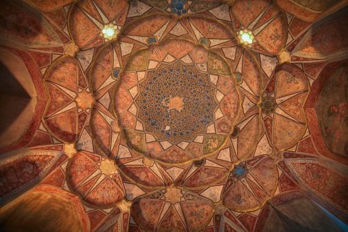 Octagonal ceiling interior of Hasht Behesht Palace, Esfahan, Iran