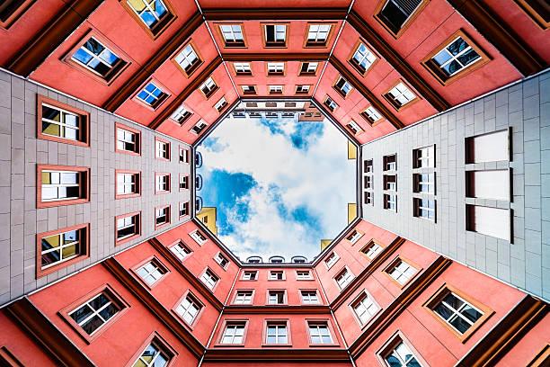 Octagonal Courtyard, Quartier Schutzenstrasse in Berlin stock photo