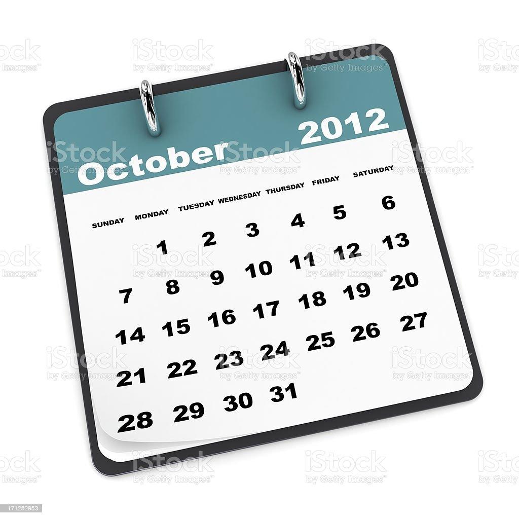October 2012 Calendar royalty-free stock photo