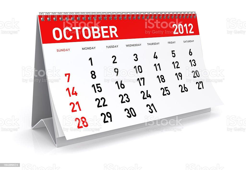 October 2012 - Calendar stock photo