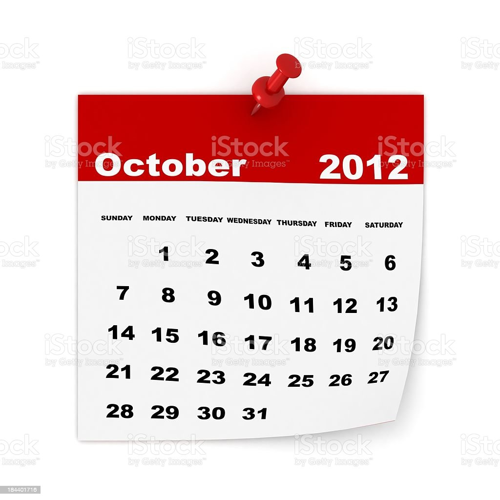 October 2012 Calendar royalty-free stock photo