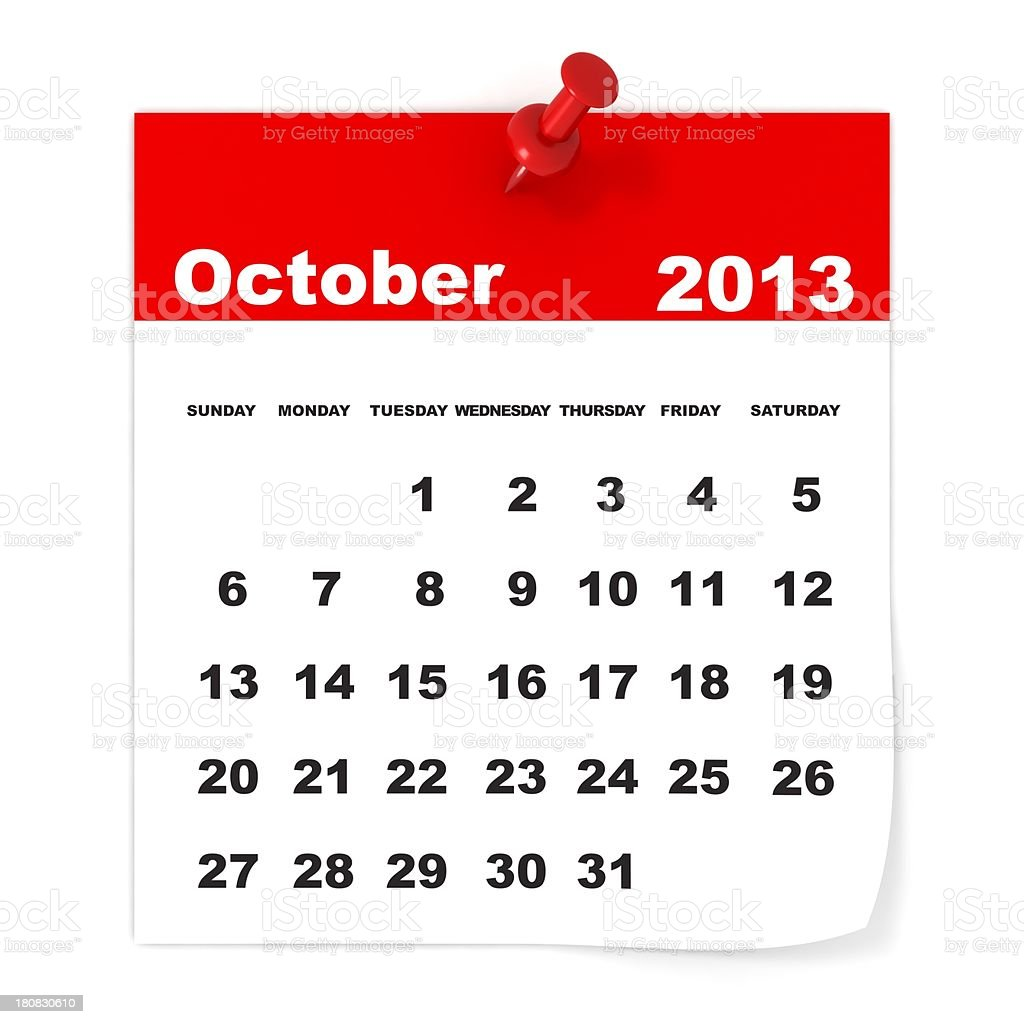 October 2013 - Calendar series royalty-free stock photo