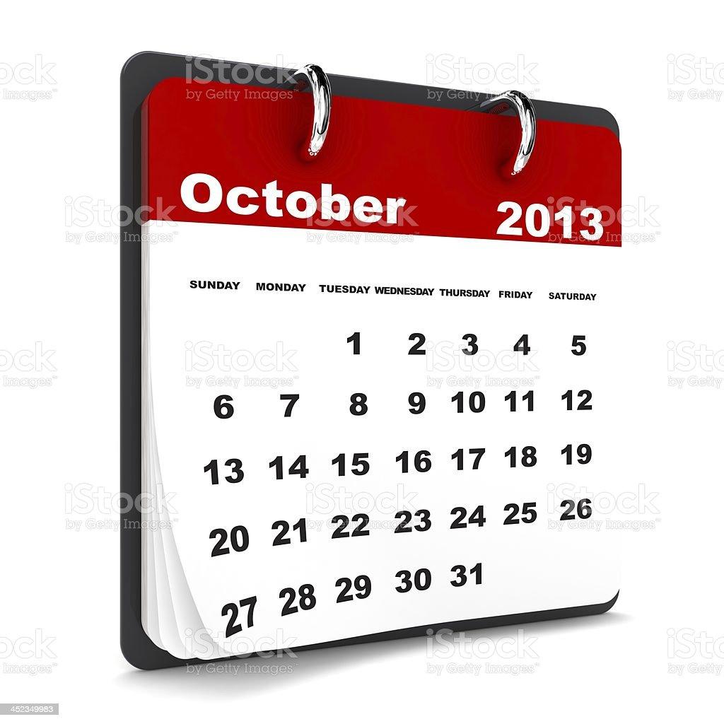 October 2013 - Calendar series royalty-free stock photo