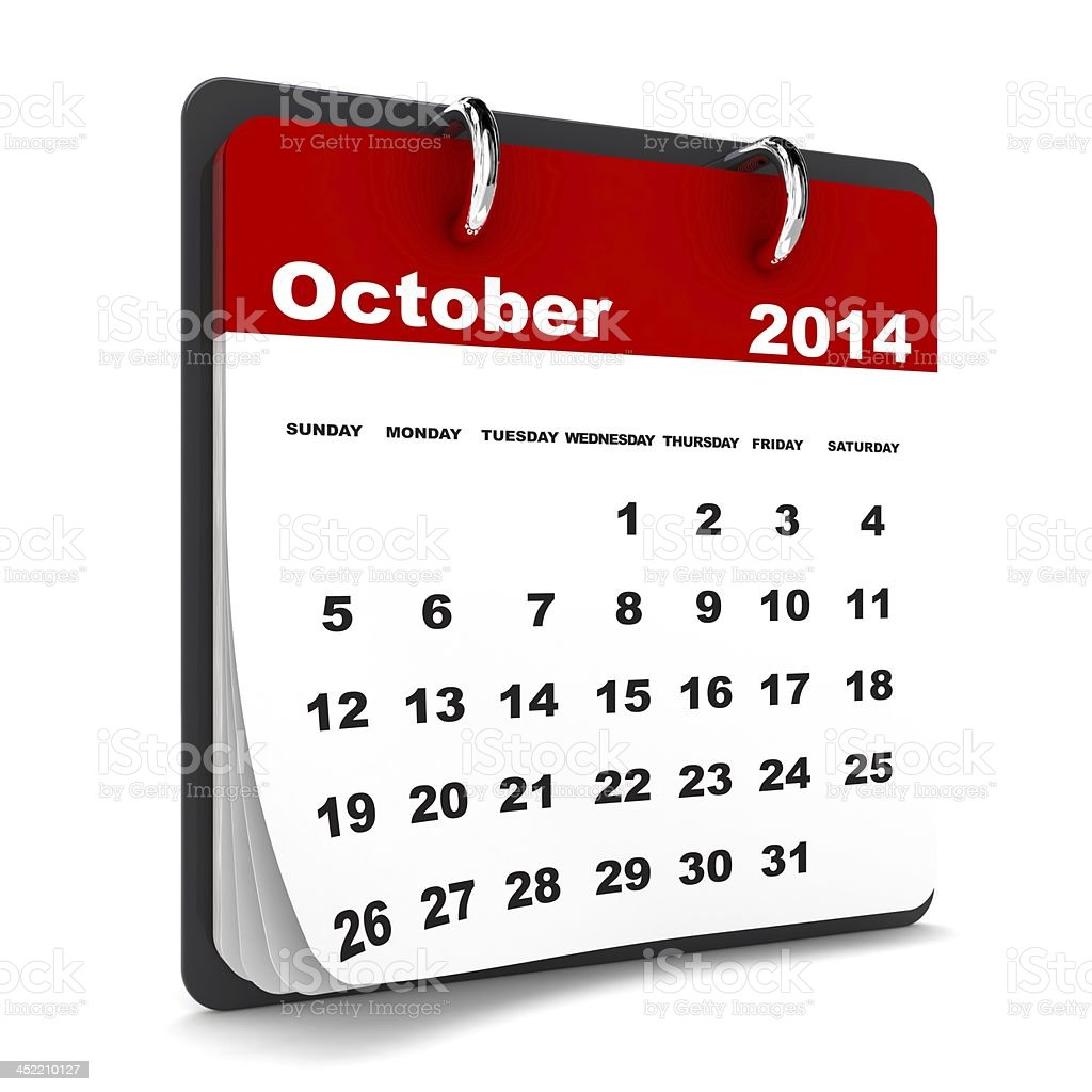 October 2014 - Calendar series royalty-free stock photo