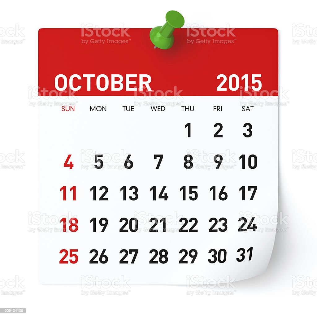October 2015 - Calendar stock photo