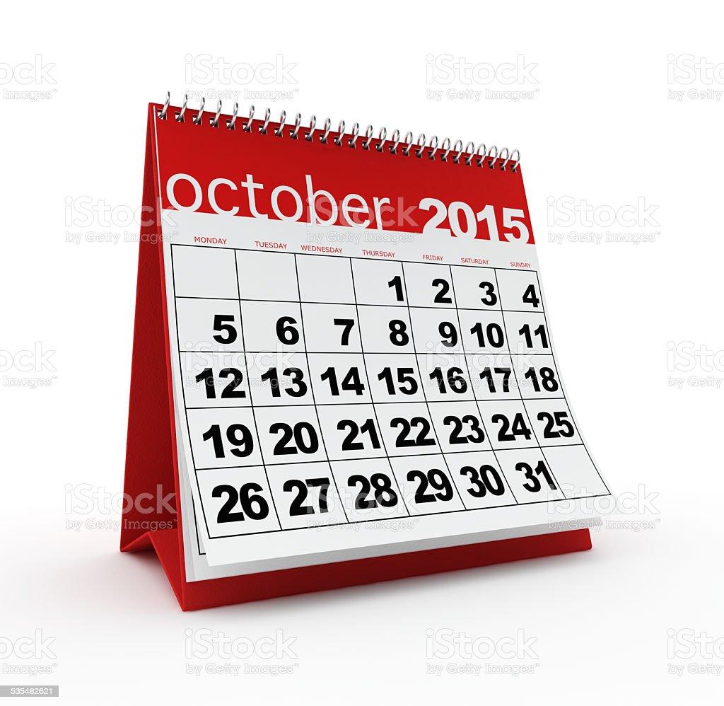 October 2015 calendar stock photo