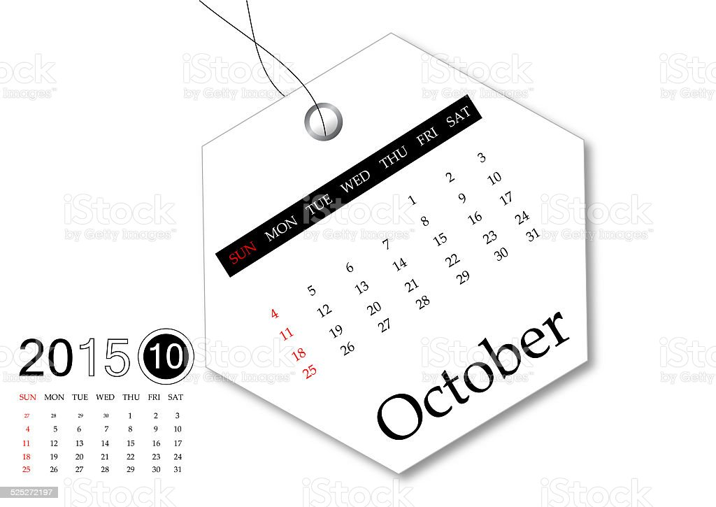 October 2015 - Calendar series stock photo