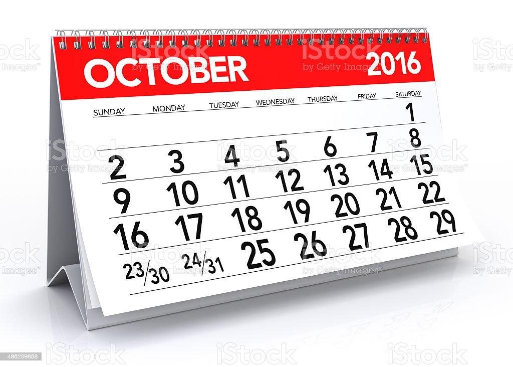 October 2016 Calendar stock photo