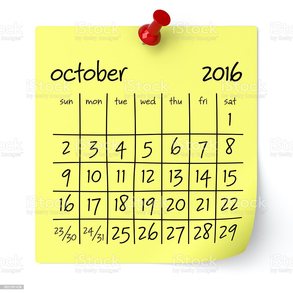 October 2016 - Calendar stock photo