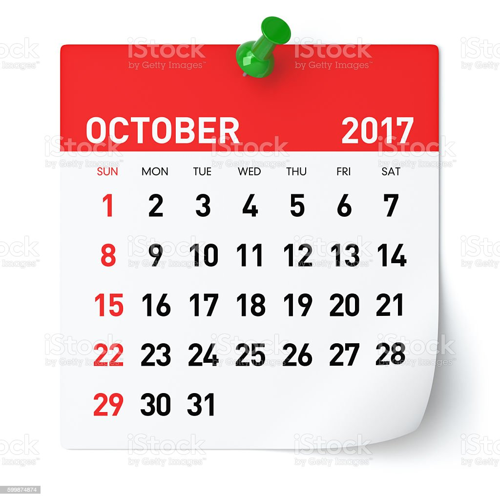 October 2017 - Calendar stock photo