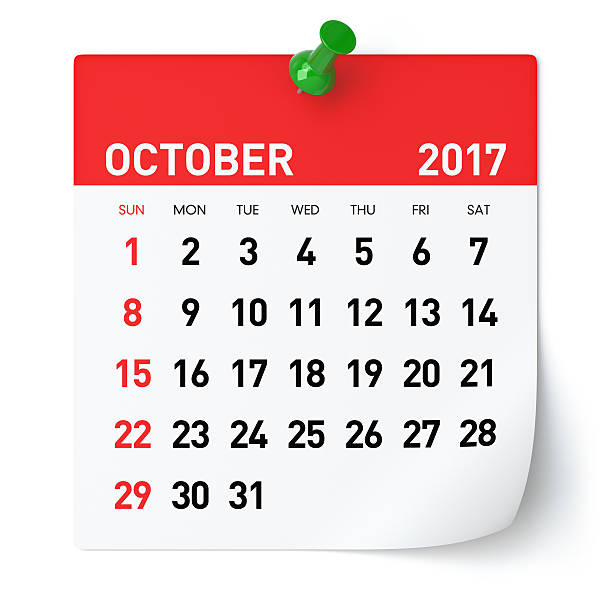 October 2017 - Calendar stock photo