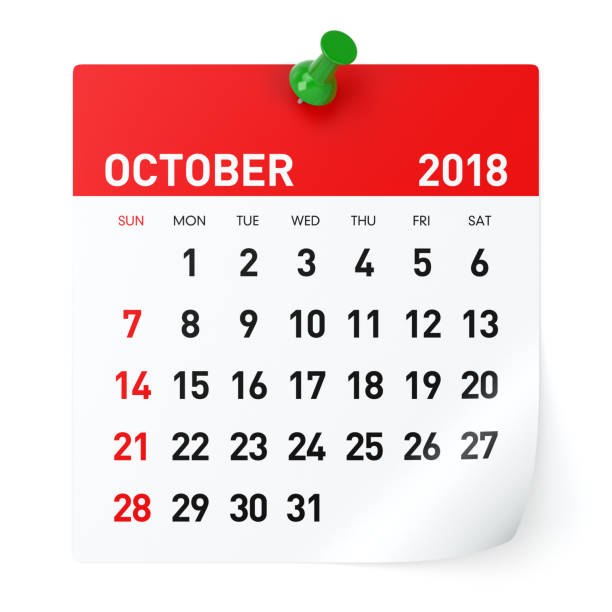 October 2018 - Calendar stock photo