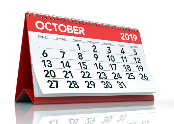 October 2019 Calendar. October 2019 Calendar. Isolated on White Background. 3D Illustration october stock pictures, royalty-free photos & images