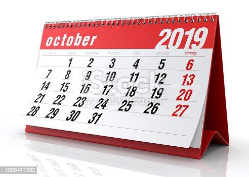 istock October 2019 Calendar. 1025411282