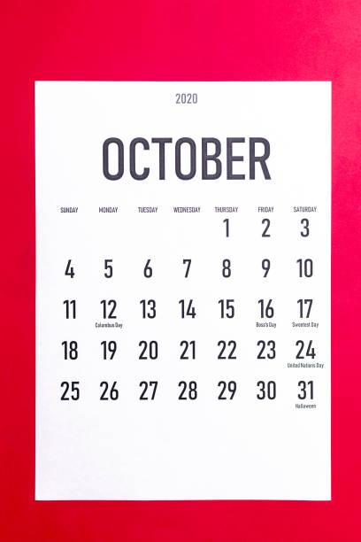 calendario de octubre de 2020 con días festivos - boss's day fotografías e imágenes de stock
