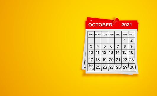 October 2021 calendar on yellow background