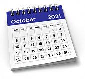 istock October 2021 Calendar. Week starts from Sunday. 1287079536