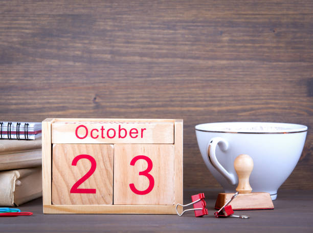 october 23. close-up wooden calendar. time planning and business background. - number 23 stock photos and pictures