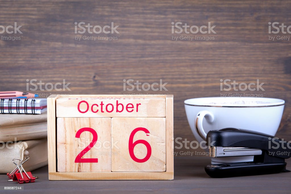 October 26. close-up wooden calendar. Time planning and business background. stock photo