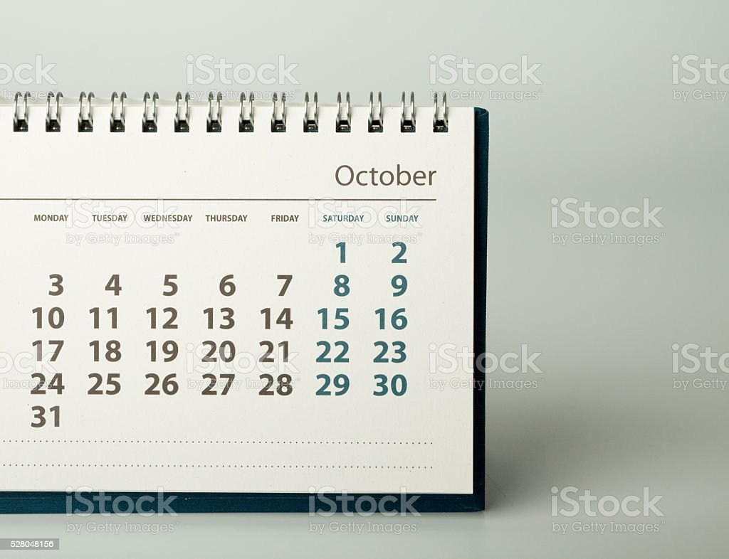 October. Calendar of the year two thousand sixteen. stock photo
