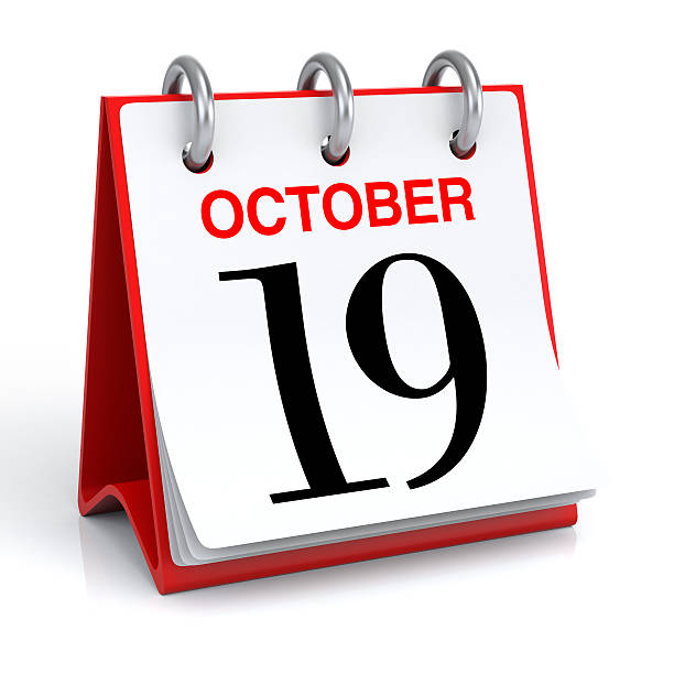 october calendar - number 19 stock photos and pictures