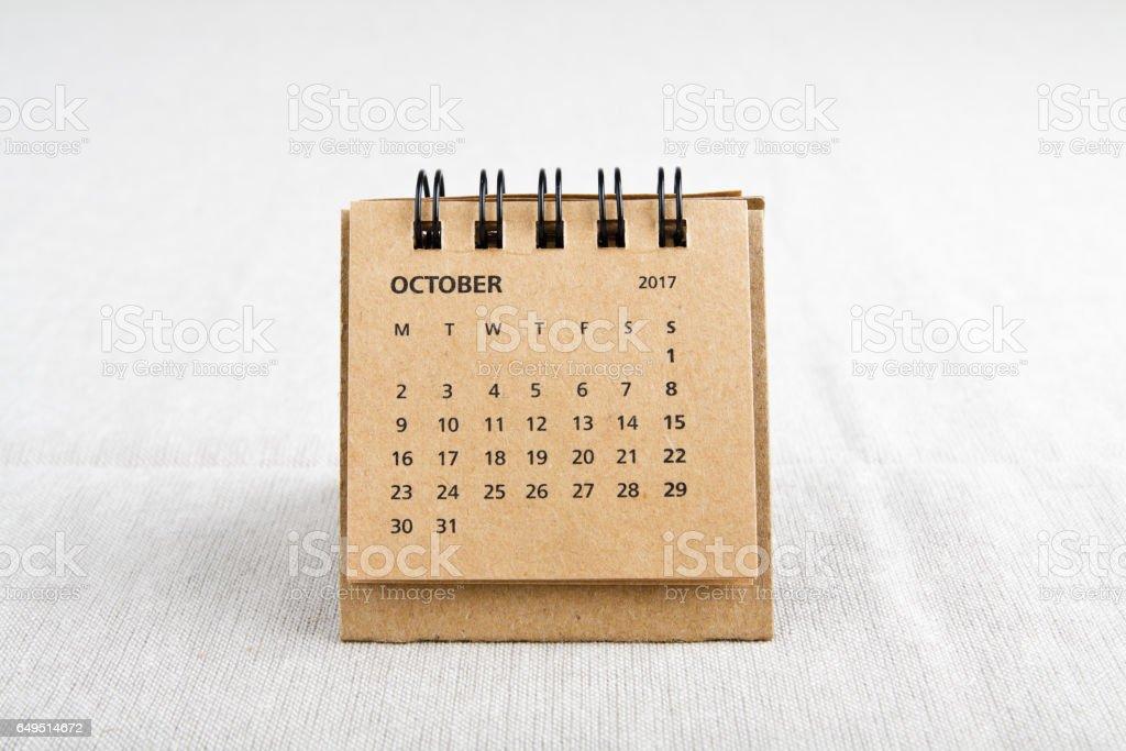 October. Calendar sheet. stock photo