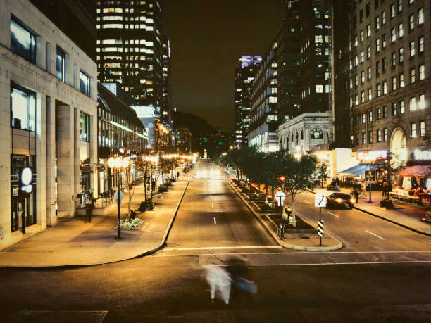 October night in town. stock photo