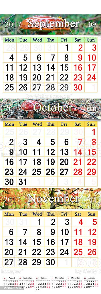 October November and December 2017 with colored pictures in  calendar stock photo