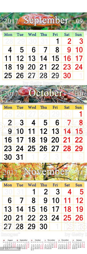 October November and December 2017 with colored pictures in form of calendar stock photo