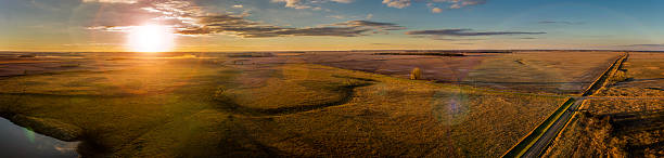 october sunset - great plains stock photos and pictures