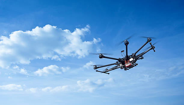octocopter, copter, drone - drones stock photos and pictures