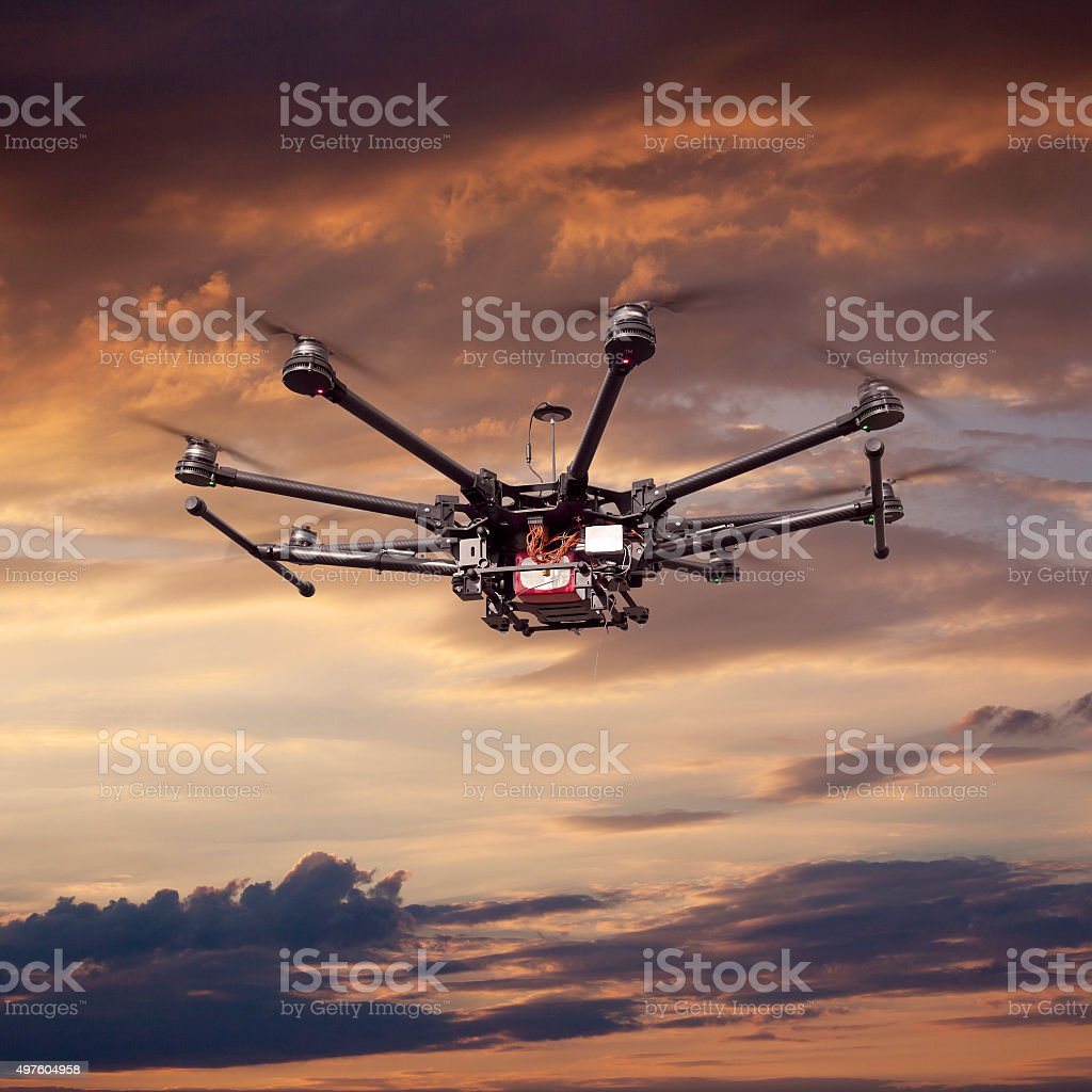 Octocopter, copter, drone stock photo